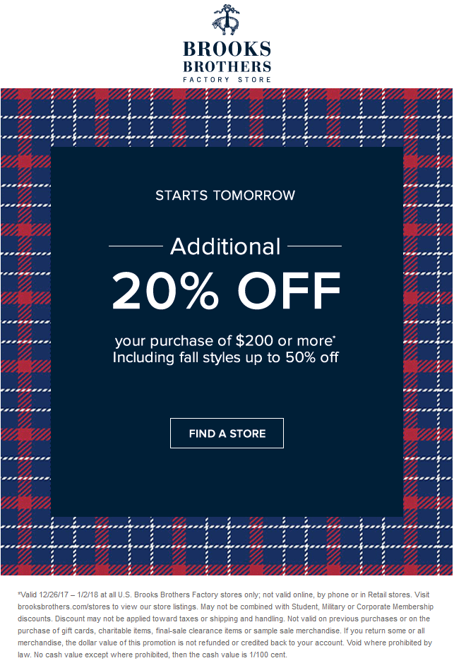 Brooks Brothers Factory Coupon March 2019 20% off $200 at Brooks Brothers Factory stores