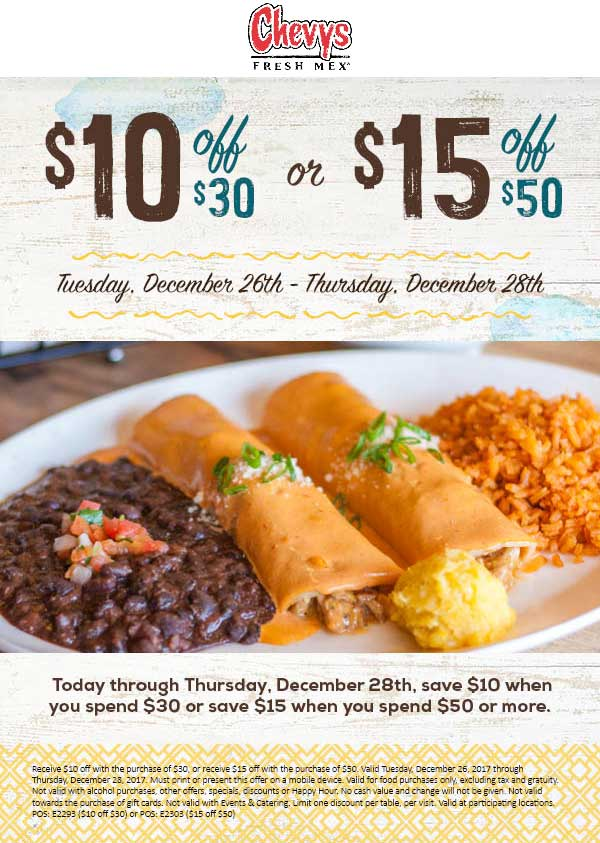 Chevys.com Promo Coupon $10 off $30 & more at Chevys Fresh Mex restaurants