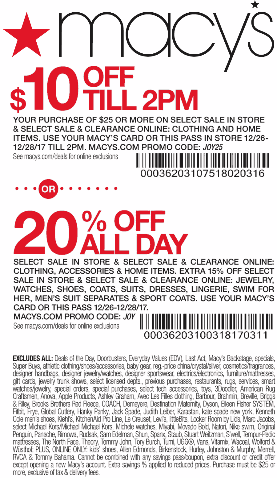 Macys Coupon August 2018 $10 off $25 til 2p & 20% all day at Macys, or online via promo code JOY25