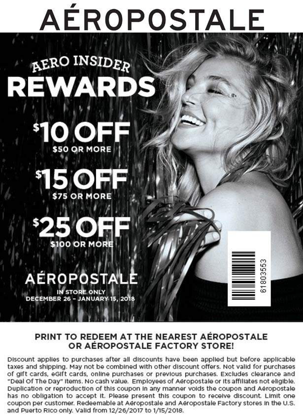Aeropostale Coupon October 2018 $10 off $50 & more at Aeropostale