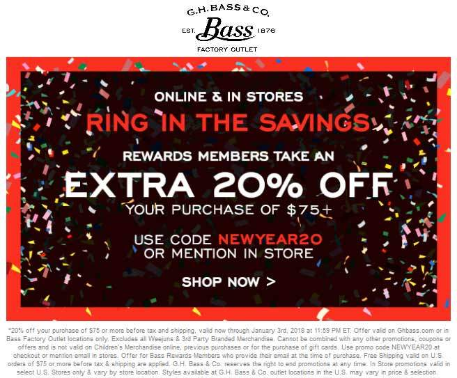 Bass Factory Outlet Coupon December 2018 20% off $75 at Bass Factory Outlet, or online via promo code NEWYEAR20