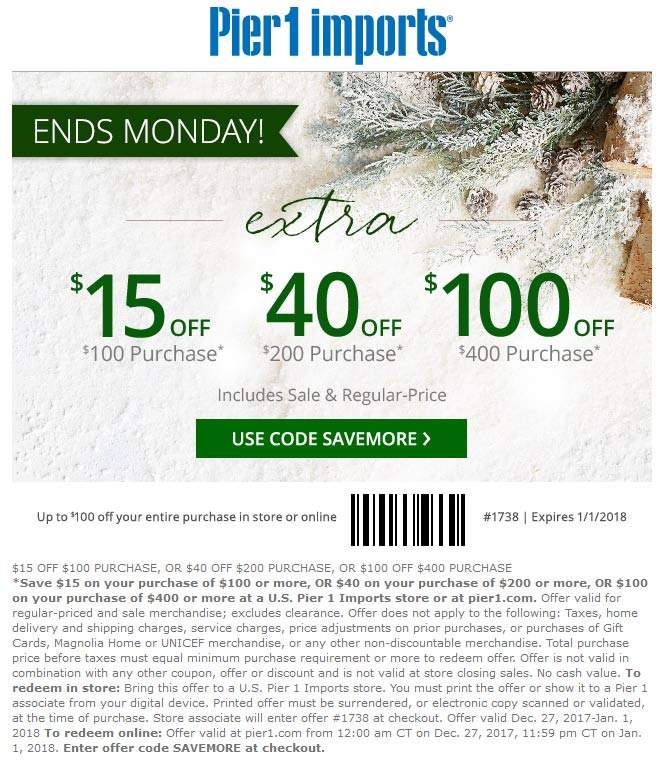 Pier 1 Coupon October 2018 $15 off $100 at Pier 1 Imports, or online via promo code SAVEMORE