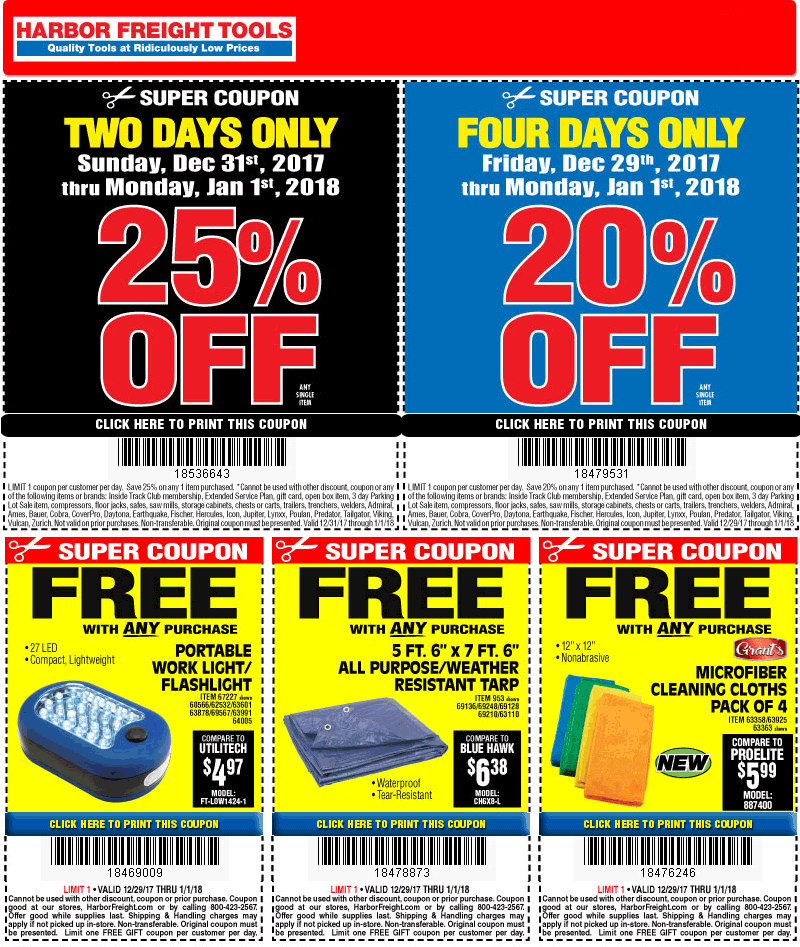 Harbor Freight Coupon December 2018 25% off a single item & more at Harbor Freight Tools
