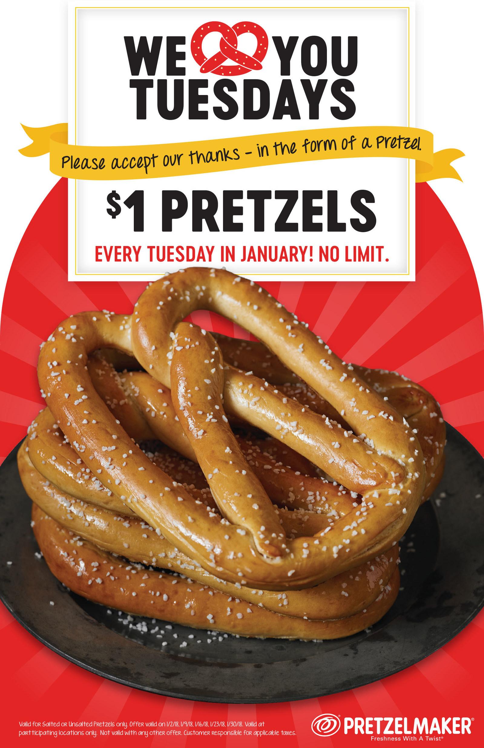 Pretzelmaker Coupon January 2019 $1 pretzels Tuesdays in January at Pretzelmaker