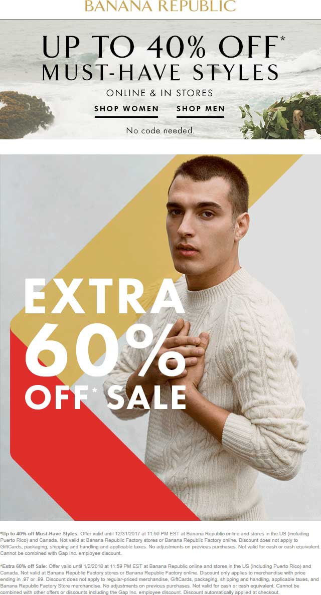 Banana Republic Coupon December 2018 Extra 60% off sale items at Banana Republic, ditto online