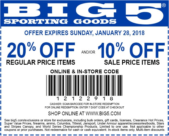 Big 5 Coupon August 2018 20% off at Big 5 sporting goods, or online via promo code 12122918