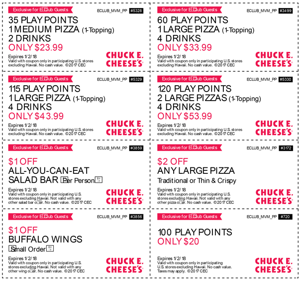 Chuck E. Cheese Coupon October 2018 100 game play points for $20 & more at Chuck E. Cheese pizza