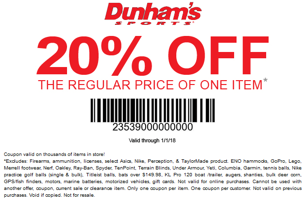 Dunhams Sports Coupon December 2018 20% off a single item at Dunhams Sports