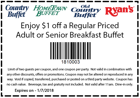Hometown Buffet Coupon December 2018 Shave a buck off breakfast at Ryans, HomeTown Buffet & Old Country Buffet