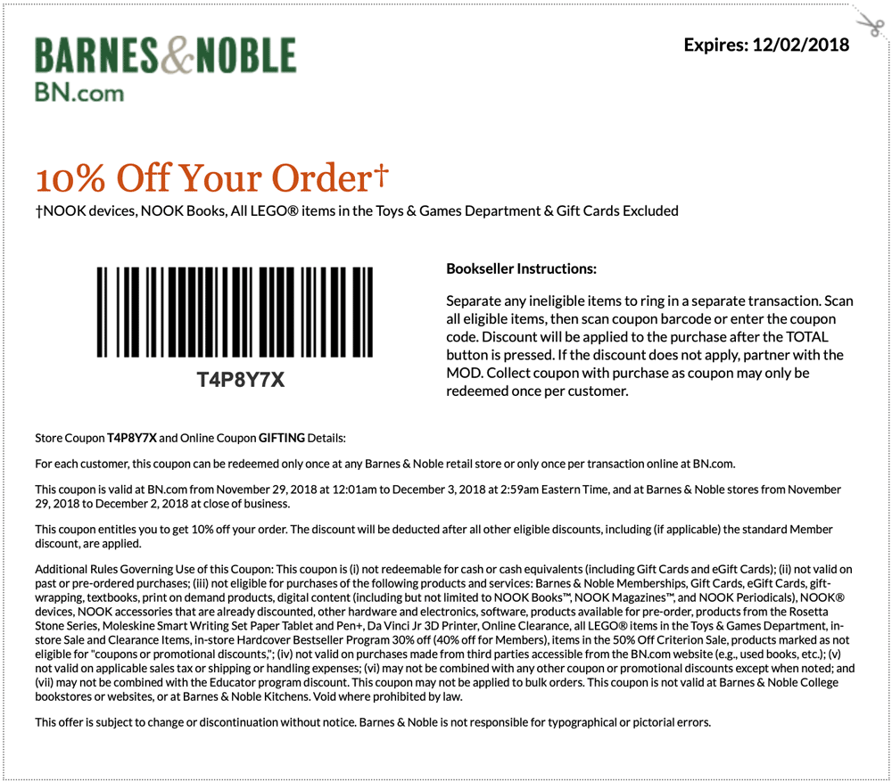 Barnes & Noble Coupon July 2019 10% off at Barnes & Noble, or online via promo code GIFTING