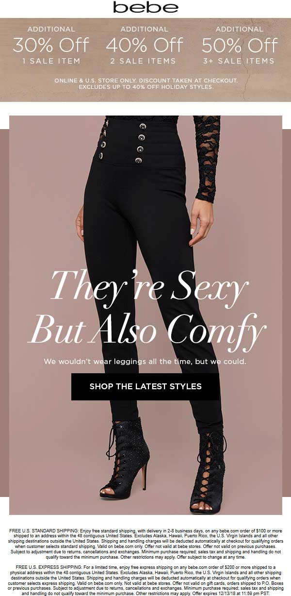 Bebe.com Promo Coupon Extra 30-50% off sale items at bebe, ditto online
