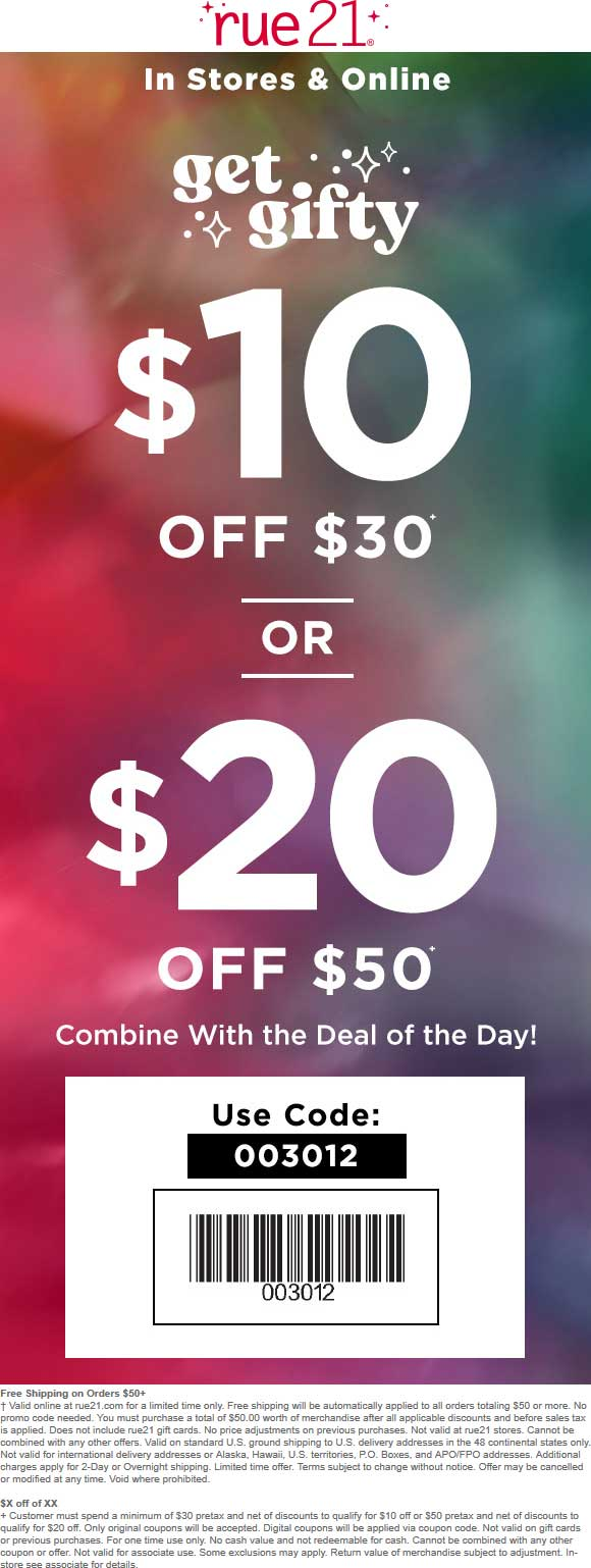 Rue21 Coupon May 2019 $10 off $30 & more at rue21, or online via promo code 003012 (12/