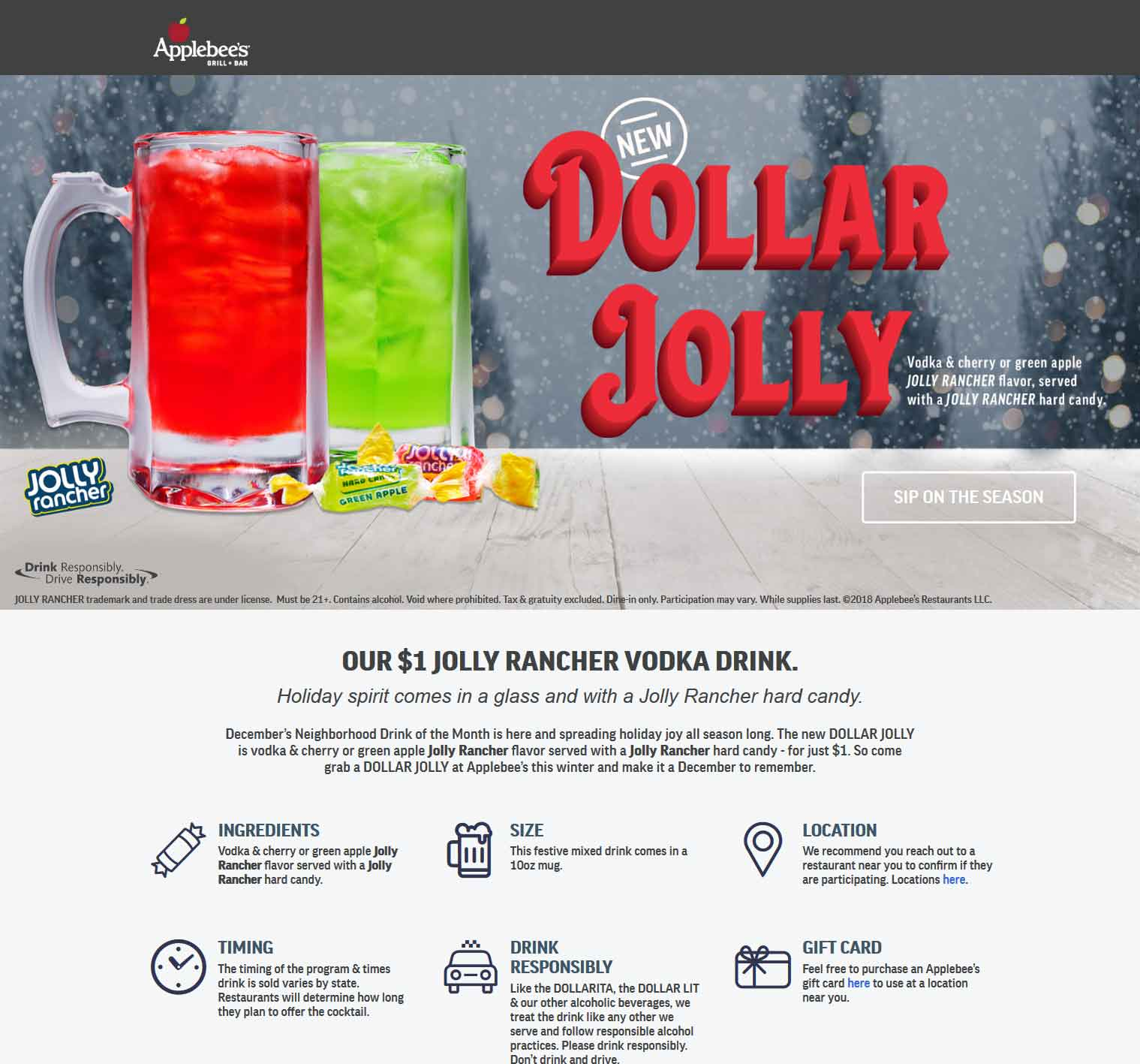 Applebees Coupon January 2020 $1 vodka & jolly rancher at Applebees