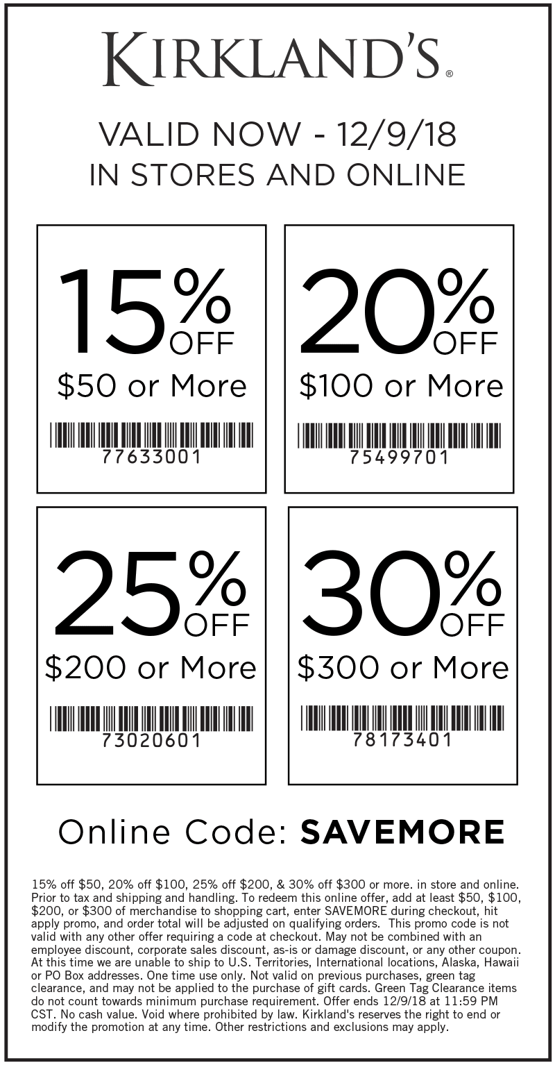 Kirklands Coupon May 2019 15-30% off $50+ at Kirklands, or online via promo code SAVEMORE