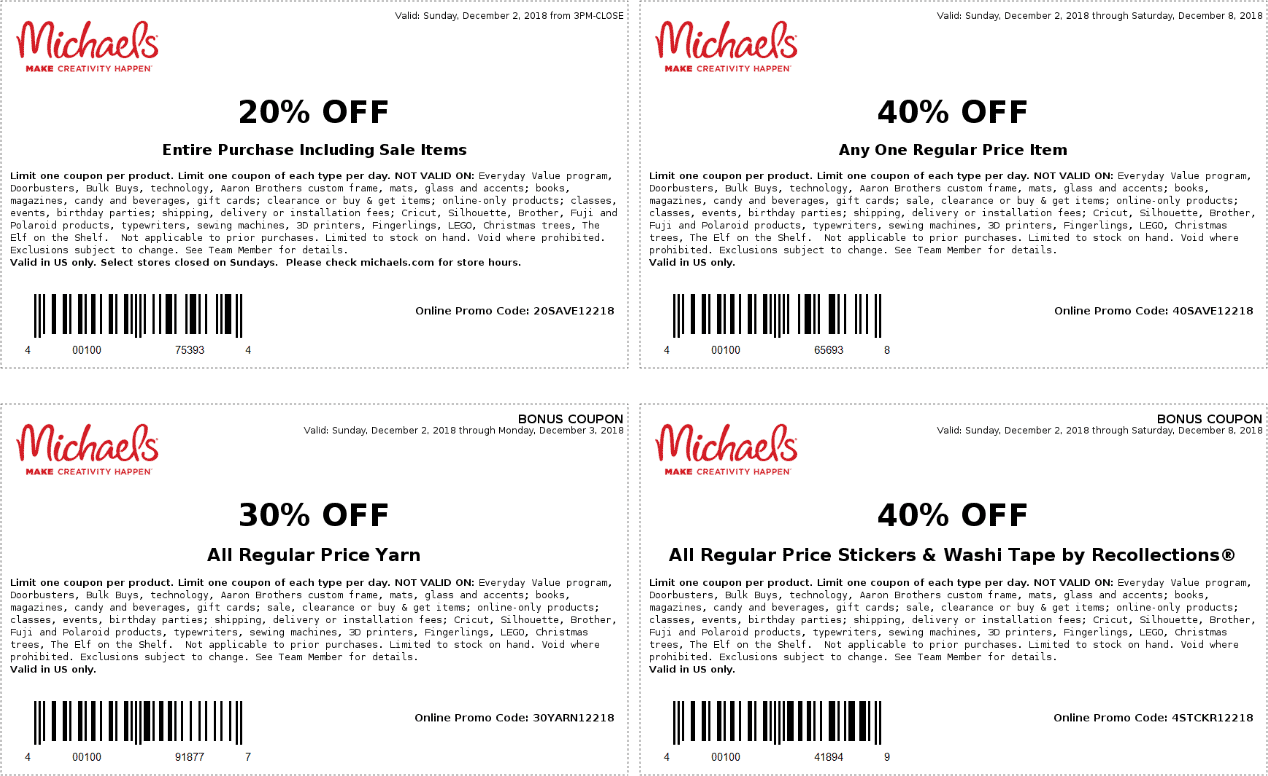 Michaels Coupon January 2019 40% off a single item & more at Michaels, or online via promo code 40SAVE12218