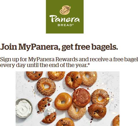 Panera Bread Coupon August 2019 Free bagel daily all month for free rewards members at Panera Bread
