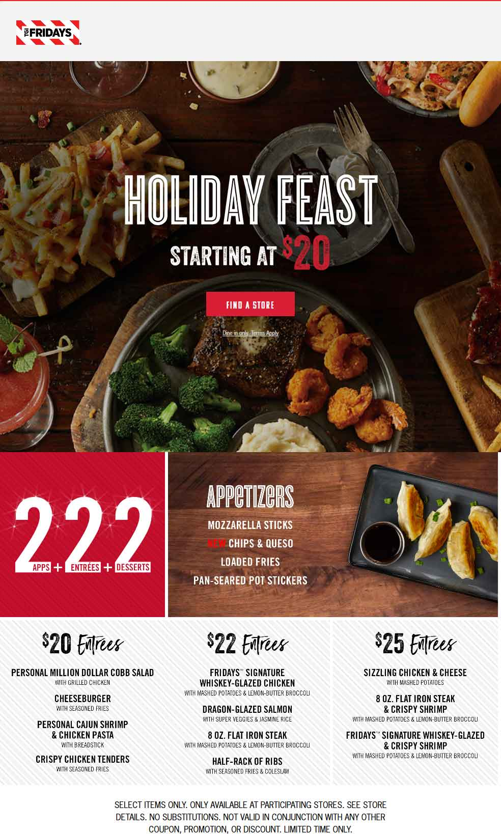 TGI Fridays Coupon March 2019 2 appetizer + 2 entrees + 2 desserts = $20 at TGI Fridays