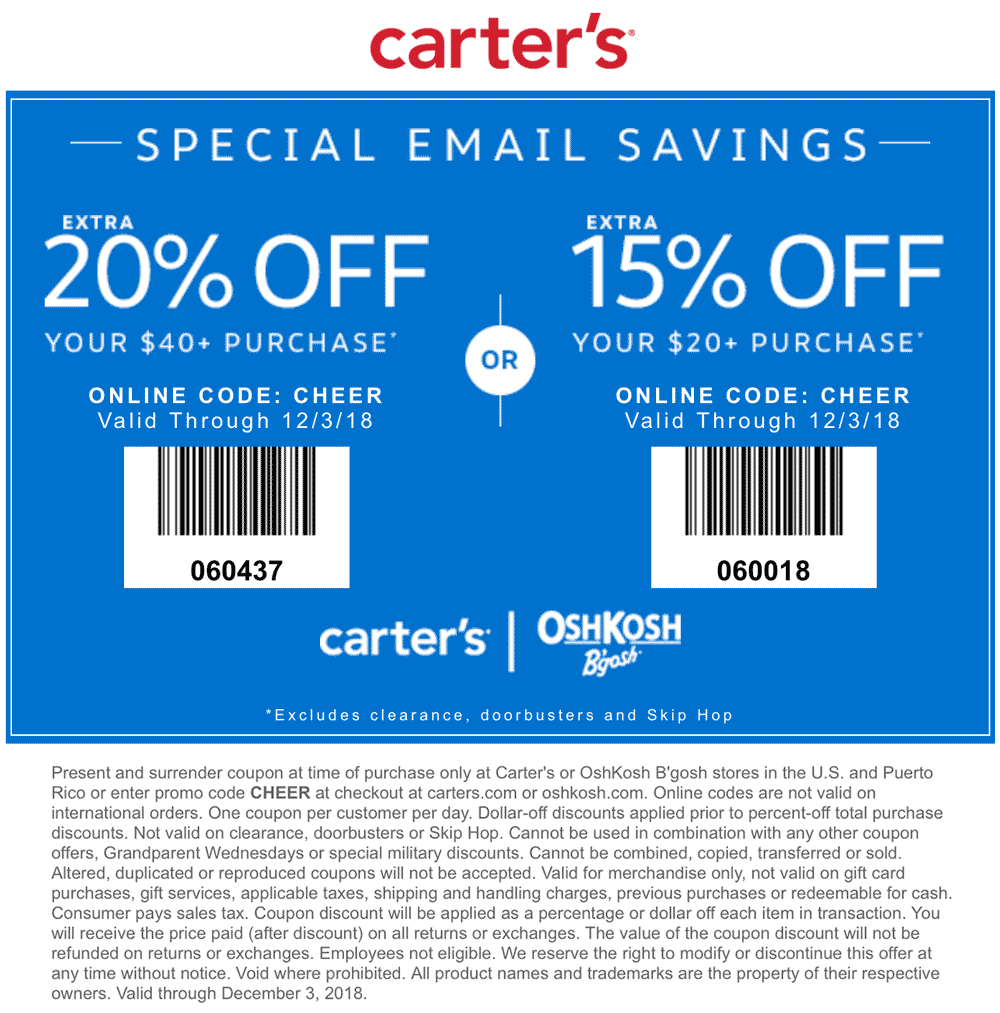 Carters Coupon August 2019 15-20% off today at Carters, or online via promo code CHEER
