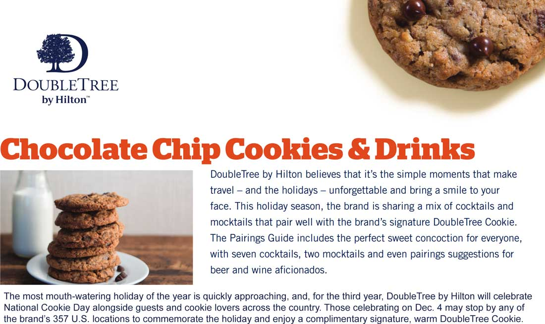 DoubleTree by Hilton Coupon September 2019 Free chocolate chip cookie Tuesday at DoubleTree hotels, no stay required