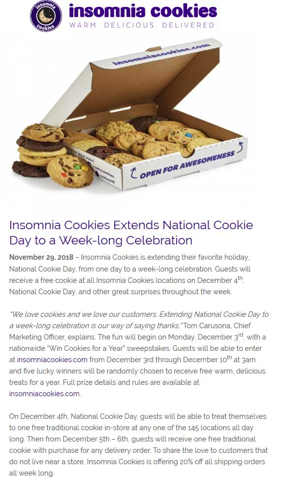 Insomnia Cookies Coupon November 2019 Free cookie Tuesday at Insomnia Cookies