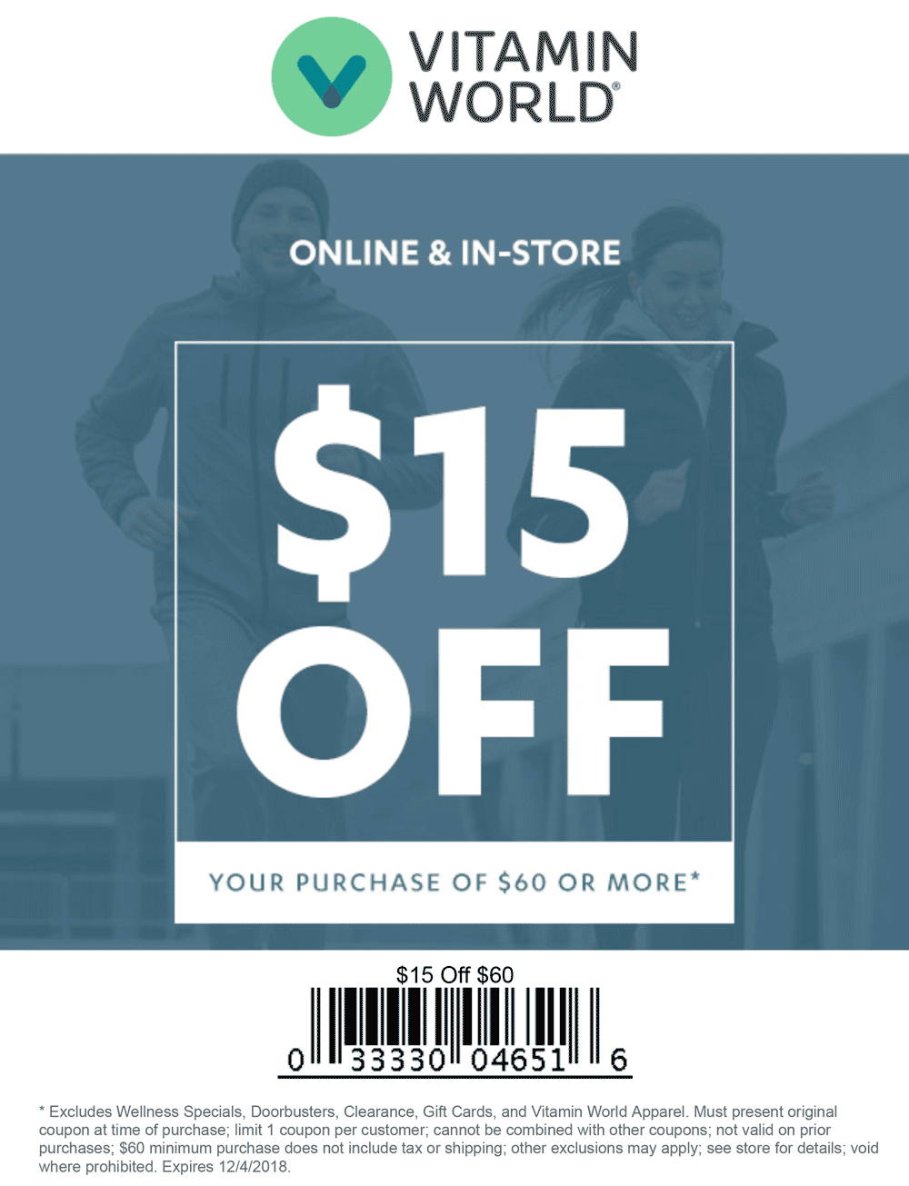 Vitamin World Coupon July 2019 $15 off $60 at Vitamin World, or online via promo code VE12A01