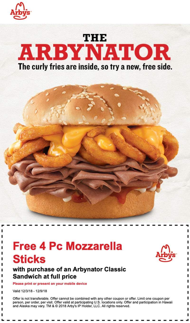 Arbys Coupon January 2019 Free mozzarella sticks with your Arbynator sandwich at Arbys