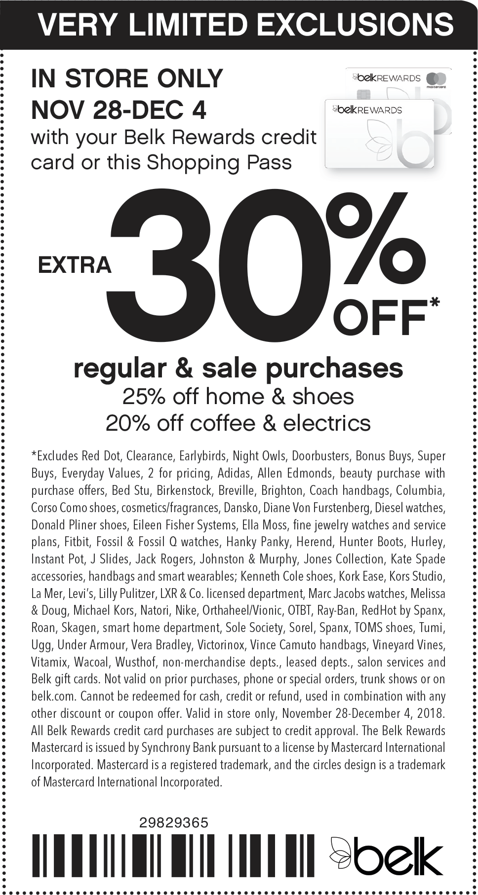 Belk Coupon November 2019 30% off today at Belk