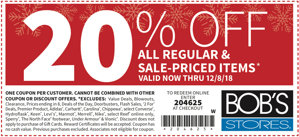 BobsStores.com Promo Coupon 20% off at Bobs Stores, or online via promo code 204625