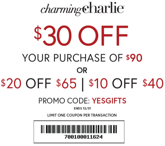 Charming Charlie Coupon January 2020 $10 off $40 & more at Charming Charlie, or online via promo code YESGIFTS