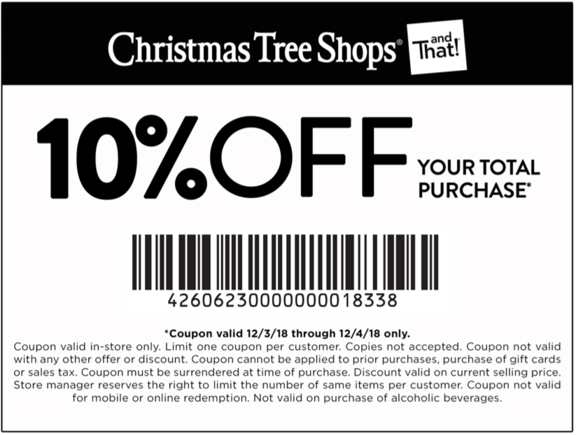Christmas Tree Shops Coupon August 2019 10% off today at Christmas Tree Shops