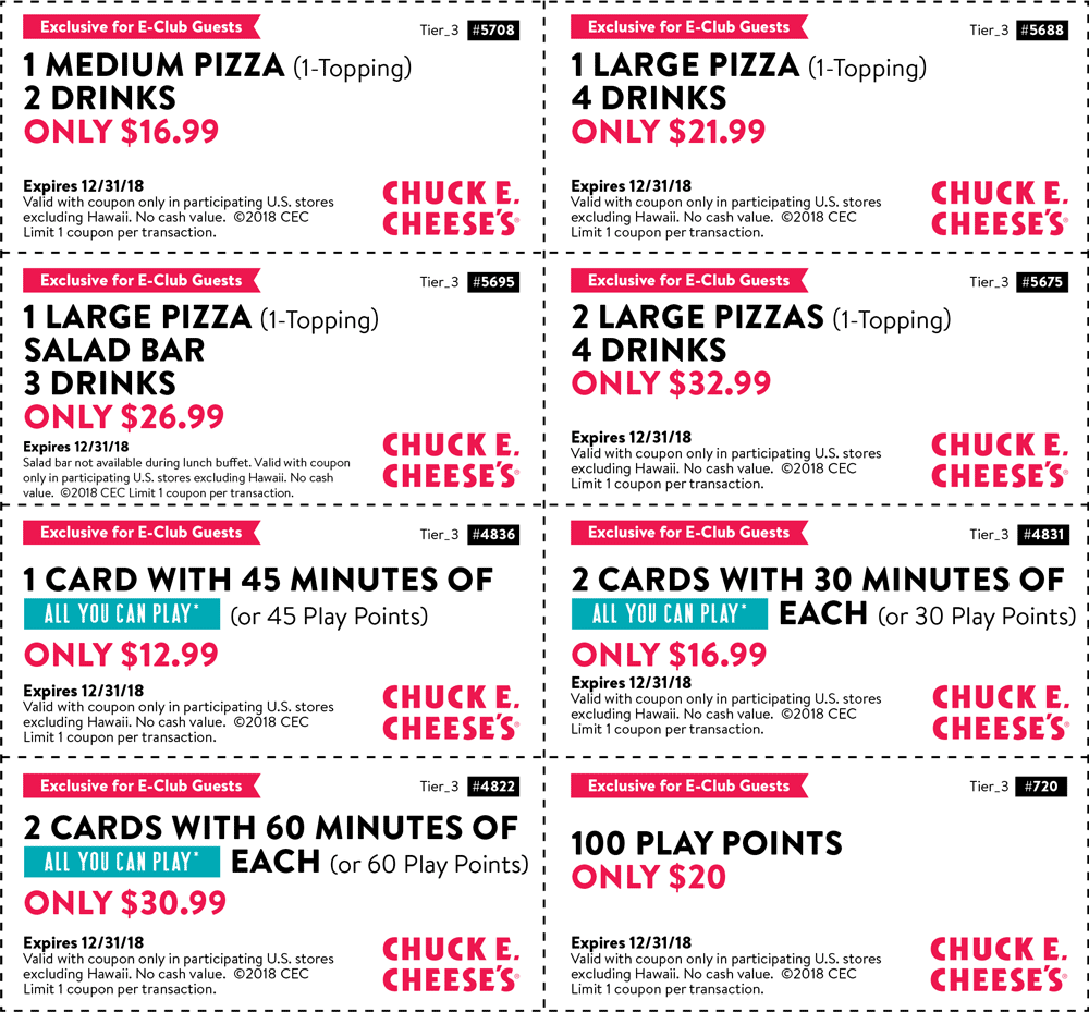 Chuck E. Cheese Coupon December 2019 100 play points for $20 & more at Chuck E. Cheese pizza