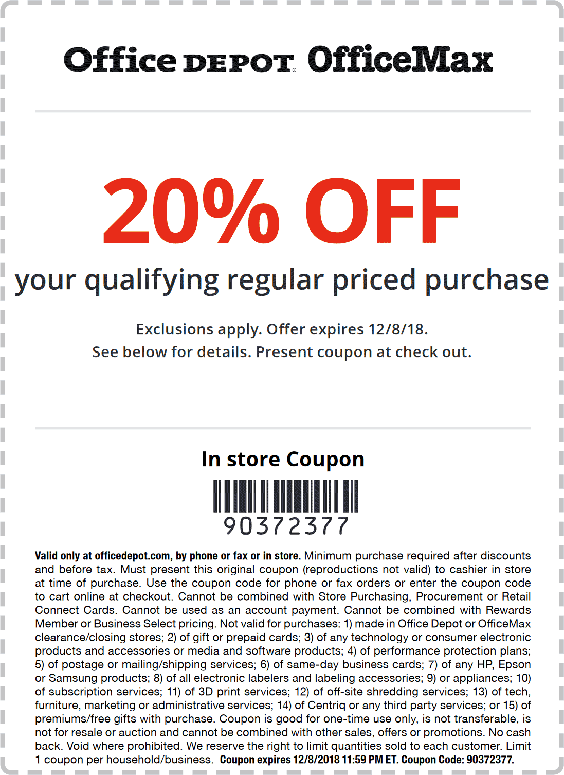Office Depot Coupon August 2019 20% off at Office Depot & OfficeMax, or online via promo code 90372377