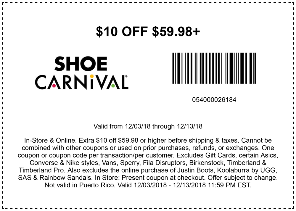 Shoe Carnival Coupon August 2019 $10 off $60 at Shoe Carnival, or online via promo code DECBONUS