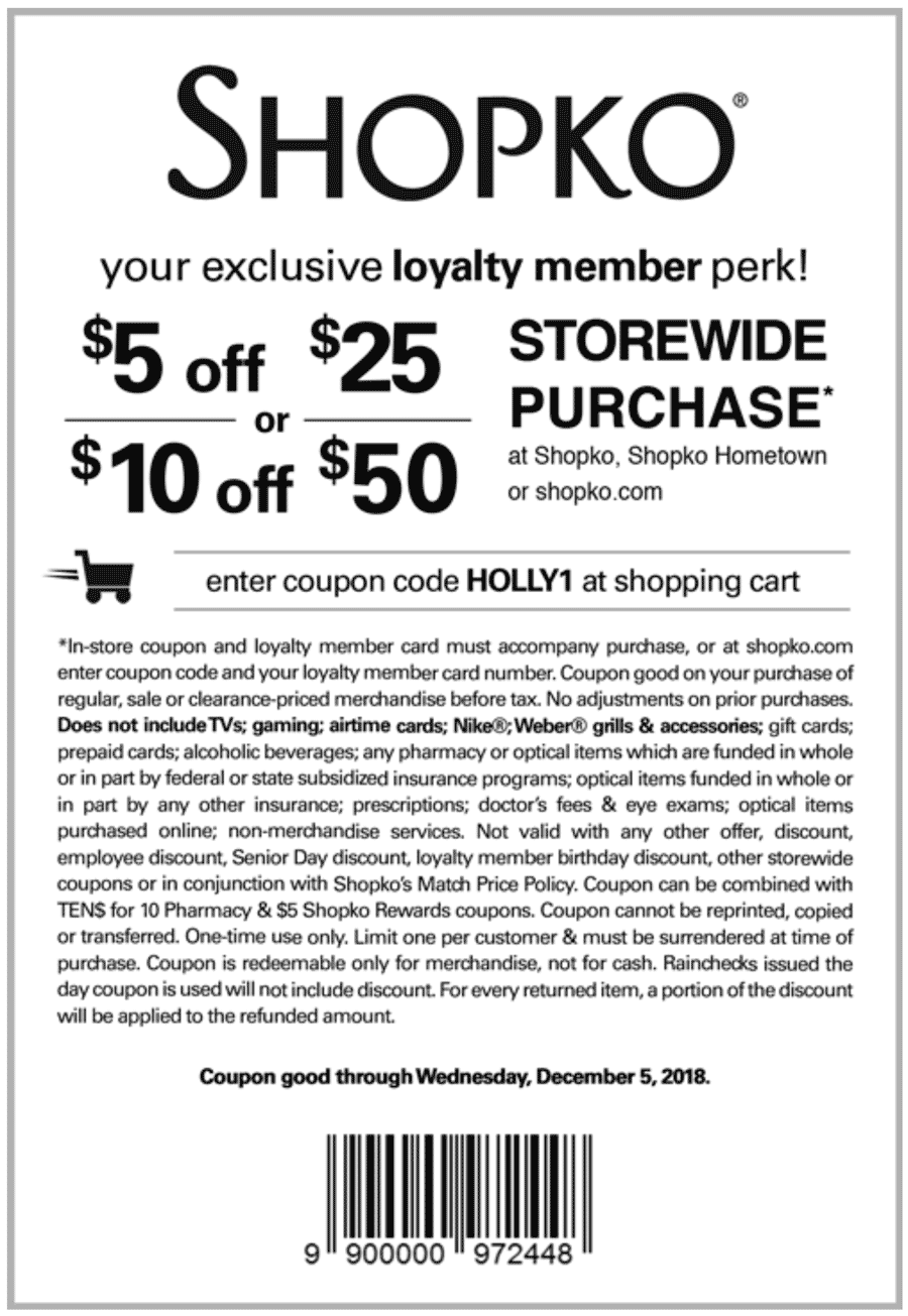 Shopko.com Promo Coupon $5 off $25 & more at Shopko, or online via promo code HOLLY1