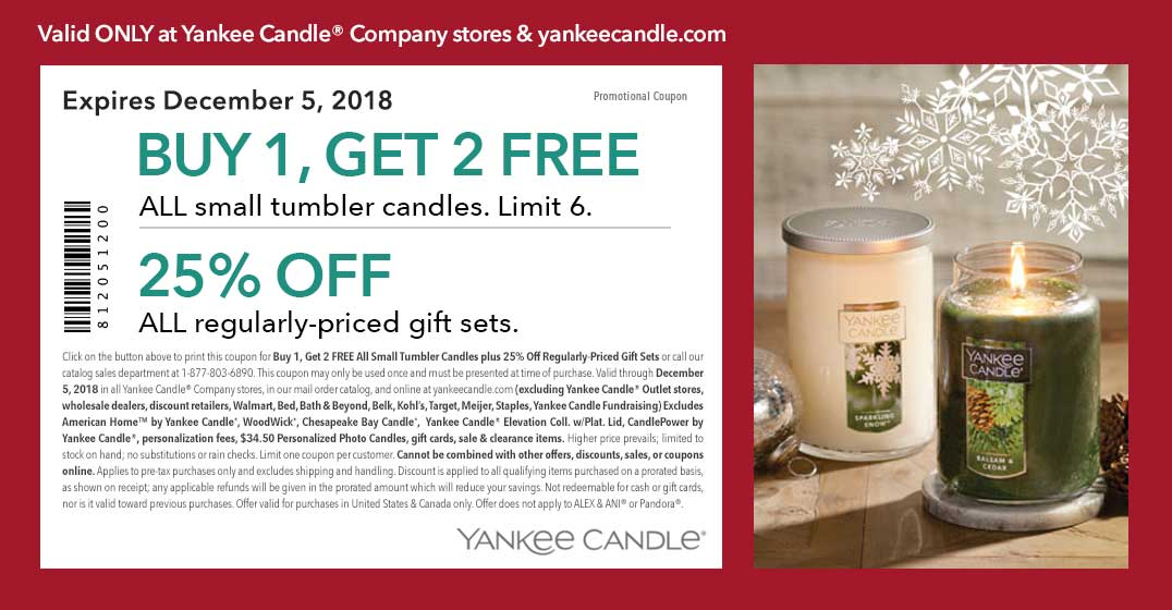 Yankee Candle Coupon July 2019 3-for-1 on tumbler candles at Yankee Candle, ditto online