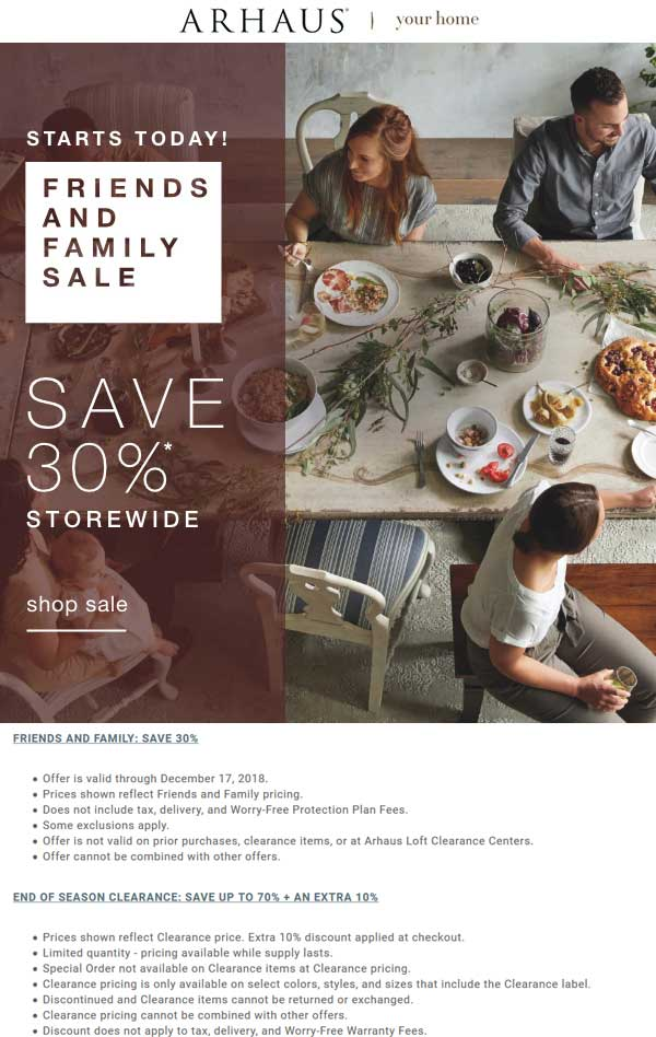 Arhaus Coupon October 2019 30% off everything at Arhaus, ditto online