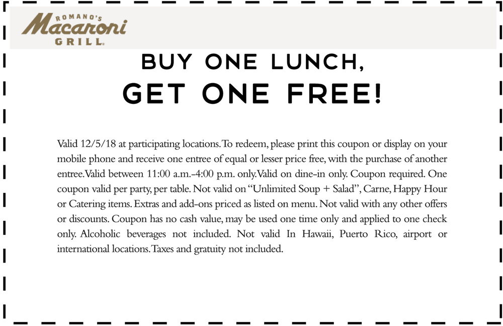 Macaroni Grill Coupon July 2019 Second lunch free today at Macaroni Grill