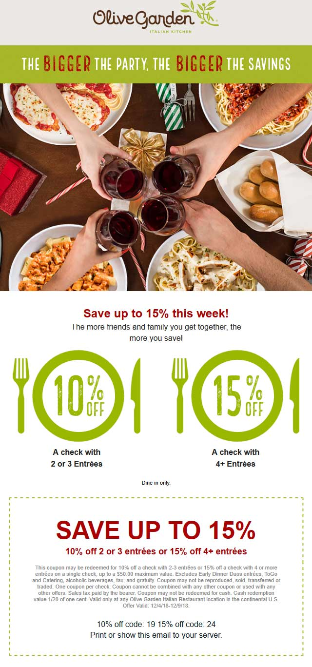 Olive Garden Coupon November 2019 10-15% off at Olive Garden restaurants