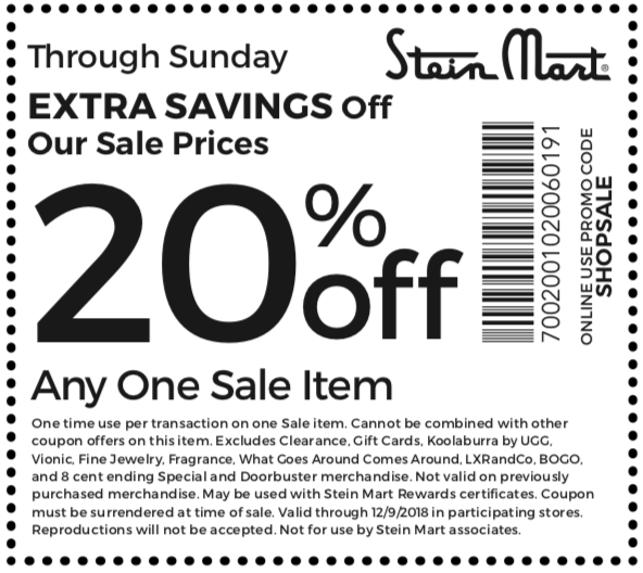 SteinMart.com Promo Coupon Extra 20% off a single sale item at Stein Mart, or online via promo code SHOPSALE