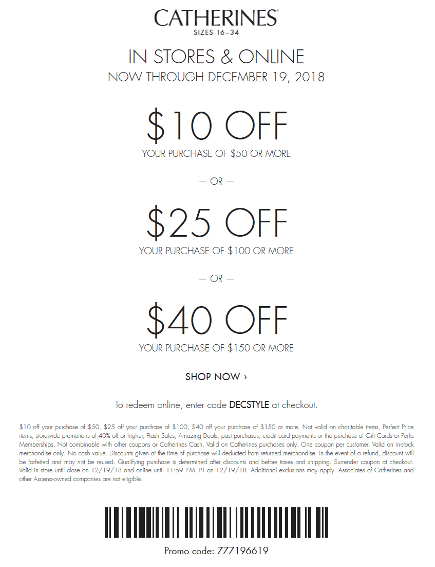 Catherines Coupon November 2019 $10 off $50 & more at Catherines, or online via promo code DECSTYLE