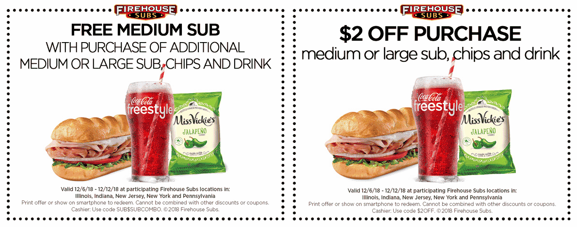 Firehouse Subs Coupon November 2019 Second sub sandwich free & more at Firehouse Subs