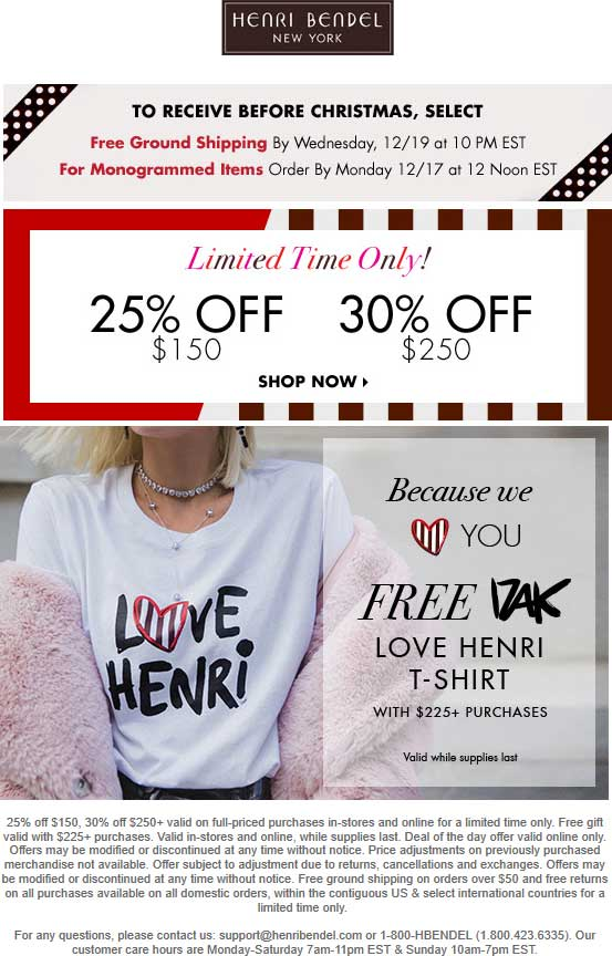 Henri Bendel Coupon August 2019 25-30% off $150+ at Henri Bendel, ditto online