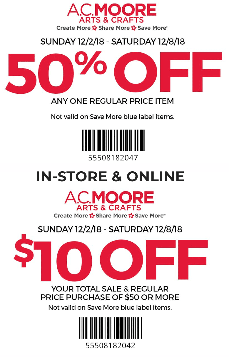 A.C.Moore.com Promo Coupon $10 off $50 & more at A.C. Moore, or online via promo code 55507182047