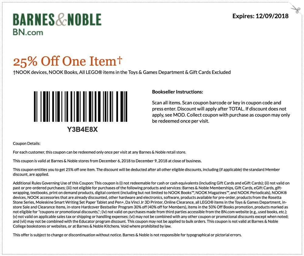 Barnes & Noble Coupon July 2019 25% off a single item at Barnes & Noble, or 20% off $50 online via promo code WISHLIST