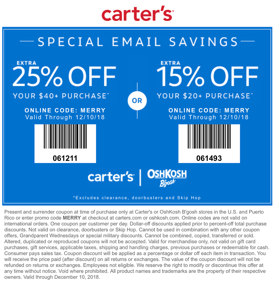 Carters.com Promo Coupon 15-25% off at Carters & OshKosh Bgosh, or online via promo code MERRY