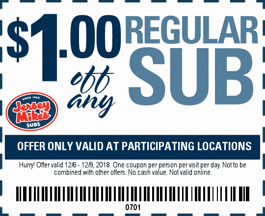 Jersey Mikes Coupon November 2019 $1 off your sub sandwich at Jersey Mikes
