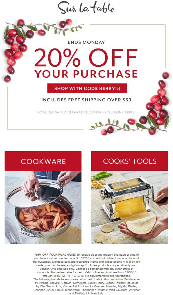 Sur La Table Coupon May 2019 20% off at Sur la Table, or online via promo code BERRY18