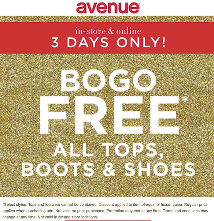 Avenue Coupon May 2019 Second top or footwear free at Avenue, ditto online