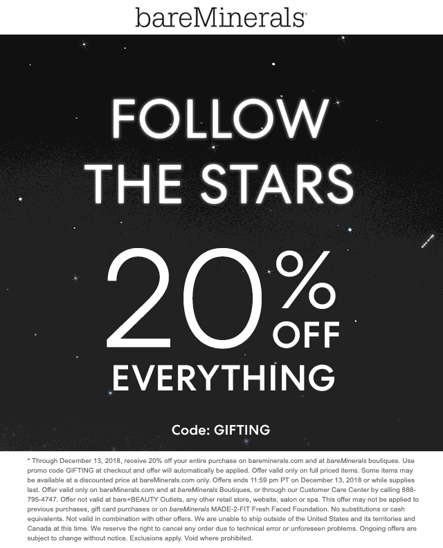 bareMinerals Coupon January 2020 20% off everything at bareMinerals, or online via promo code GIFTING