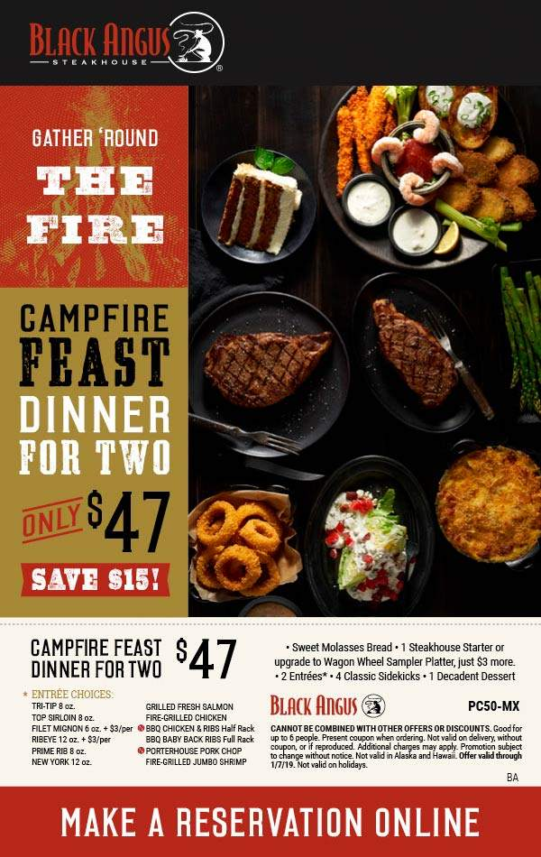 Black Angus Coupon August 2019 2 entrees + 4 sides + appetizer + dessert = $47 at Black Angus steakhouse